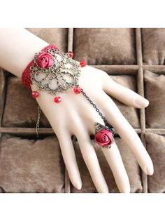 Exclusive Hollow Flower Red Bracelet with Ring