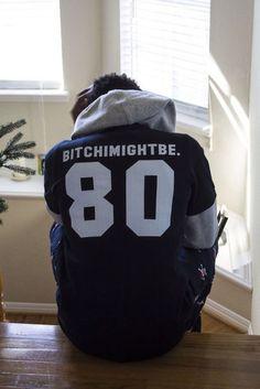 BITCH I MIGHT BE BITCHIMIGHTBE 80 Men's Black and White Baseball Jersey T-Shirt