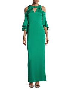 Varennes Cold-Shoulder Satin Gown, Jade