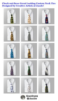 Check out these Great Looking Custom Neck Ties Designed by Creative Artists at  #Zazzle! #giftfordad #giftforgrad #giftforhim #ties #neckties