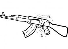 How to Draw a bullet | how to draw an ak 47 assault rifle step 6