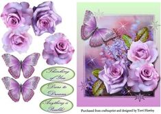 dare to dream purple on Craftsuprint designed by Terri Hawley - This is a beautiful 3D card front with beautiful roses and a large butterfly.Has 3 labels.Thinking of you.Dare to Dream.Anything is possible.Very easy to make. - Now available for download!