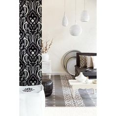 Black and white details bring modern charm to this Moroccan inspired haven - 341722 Black Nouveau Damask - Sahrzad - Yasmin Wallpaper by Eijffinger