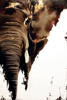 Mr. Phant - Éléphant huile sur toile originale - Original elephant oil painting…