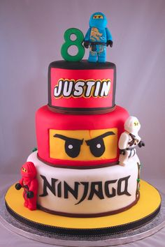 Beautiful Photo of Ninjago Birthday Cake Hermosa foto de pastel de cumpleaños de Ninjago. Ninjago Birthday Cake Ninjago Fondant Cakes Print Insipirated The Ninjago And Bolo Ninjago, Lego Ninjago Cake, Ninjago Party, Superhero Cake, Ninja Cake, Foto Pastel, Ninja Birthday Parties, Lego Birthday Cakes, 8th Birthday