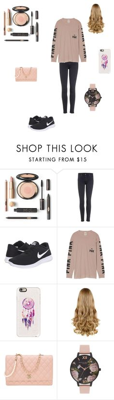 """""""Outfit on a daily basis.BTW today I got braces!"""" by ameliagrace4575 ❤ liked on Polyvore featuring beauty, AG Adriano Goldschmied, NIKE, Victoria's Secret, Casetify, Chanel and Olivia Burton"""
