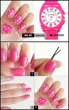 DIY Nail Tutorial inspired by LBB! use a bobby pin for the dots! great idea