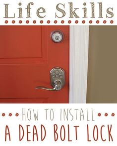 Important life skill everyone should know. Installing a dead bolt lock is easy and this step by step tutorial shows you how: www.ehow.com/...