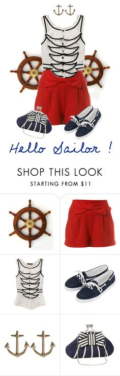 """""""Hello sailor"""" by tjrsis ❤ liked on Polyvore featuring Miss Selfridge, Topshop, Minor Obsessions, Ben de Lisi and Sailor"""