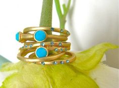 Turquoise Blue Stacking Rings - Matte Gold with Tiny Crystals - Set of | LightMetals - Jewelry on ArtFire on Wanelo
