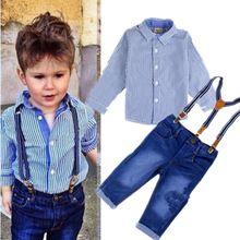 Meninos terno cavalheiro outono de manga comprida camisa listrada + jeans 2 pçs/set crianças crianças de jeans calças(China (Mainland))
