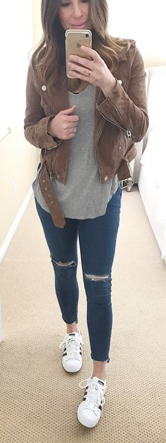 spring fashion /  Brown Suede Jacket  & Grey Top & White Sneakers