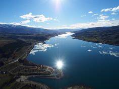 Lake Dunstan from the helicopter during a Cromwell Basin scenic flight.