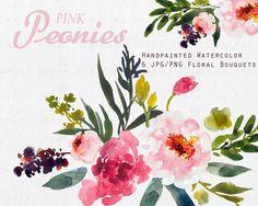 Watercolour Floral Clipart. Handmade, watercolour clipart, wedding diy elements…