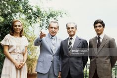 Former American president Richard Nixon meets last emperor and Shah of Iran Mohammed Reza Pahlavi, his wife Farah Diba, and their son Prince Reza Pahlavi, 19, at a country club in Cuernavaca.