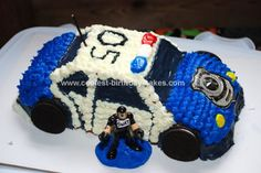 Homemade Police SWAT Car Birthday Cake: This Police SWAT Car Birthday Cake was made using the Wilton 3-D car cruiser cake pan.  I used a boxed mix, white cake according to the pan's directions.