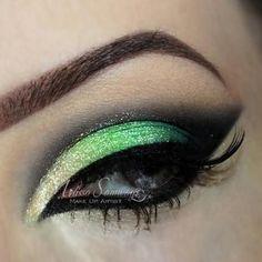 Look drop dead gorgeous is bold green eye makeup.