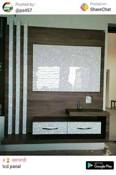 Tv Unit Interior Design, Lcd Unit Design, Tv Unit Furniture Design, Lcd Panel Design, Living Room Partition Design, Living Room Tv Unit Designs, Pooja Room Door Design, Bedroom Cupboard Designs, Tv Cabinet Design