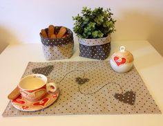 Set 2 Tovagliette americane in cotone Cuori a contrasto. : Tessili e tappeti di lecosedisimo