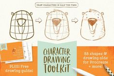 Ad: Procreate Character Drawing Toolkit by Lisa Glanz on Draw characters in half the time… Improve your drawing skills AND have fun doing it! Introducing The Character Drawing Toolkit! A fun and Drawing Process, Drawing Skills, Drawing Tips, Brush Drawing, You Draw, Learn To Draw, Design Thinking, Wireframe Mobile, Design Android