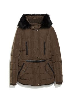Zara Down Anorak with Furry Hood, $120; zara.com Courtesy of Retailer - 15 Chic Puffer Jackets You'll Actually Want to Wear - Elle