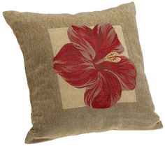 $13.45 Brentwood Panama Jacquard Chenille 18-by-18-inch Knife Edge Decorative Pillow, Red Hibiscus