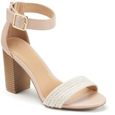 LC Lauren Conrad Women's Woven High Heel Sandals, Size: 6, Brt Pink ($65) ❤ liked on Polyvore featuring shoes, sandals, brt pink, chunky-heel sandals, open toe high heel sandals, faux leather sandals, pink high heel shoes and pink heel sandals
