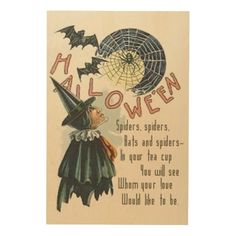 Witch Spider Bat Spiderweb Cobweb Full Moon Wood Print