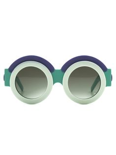 Round Turquoise Sunglasses with Ivory & Lilac | Fakoshima | NOT JUST A LABEL