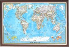 Nat Geo Classic Framed World Map Close-up zoom