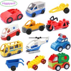 Happywill Traffic Series DIY Building Block Accessories Educational Toys Car Bus Plane Boat Jeep Motorbike Ambulance Compatible #Affiliate