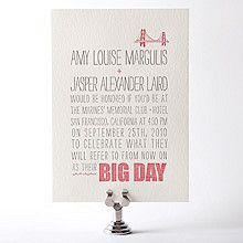 Big Day: Letterpress Wedding Invitation. Cute and different!