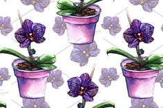 Watercolor orchid seamless pattern by Art By Silmairel on @creativemarket