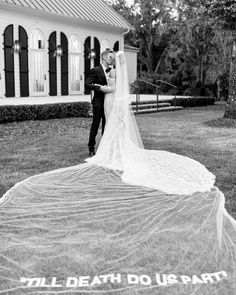 """Hailey Baldwin married Justin Bieber in an Off-White wedding gown designed by Virgil Abloh, the bride has revealed. Her veil was embroidered with the words: """"Till death do us part"""". Off White Wedding Dresses, Celebrity Wedding Dresses, Celebrity Weddings, Famous Wedding Dresses, Celebrity Wedding Photos, Celebrity Couples, Celebrity Style, Hailey Baldwin Wedding Dress, Hailey Bieber Wedding"""