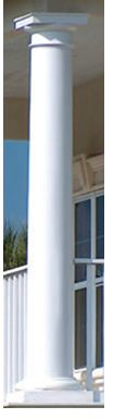 Round Tapered Columns shown with Tuscan Base and Cap --- Fiberglass ---- Our Round Fiberglass Columns are cast from a proprietary fiber-reinforced polymer composite with an exceptional strength-to-weight ratio. Far superior to standard fiberglass columns, they cost about the same!