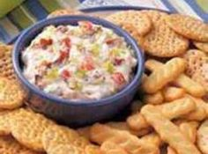 """BLT Dip - using Hellman's mayo is key. For some reason it just isn't the same using Miracle Whip.  At work it was nicknamed """"crack-dip"""".  Can't stay away from it once you start!  I prefer to use seeded Roma tomatoes. Serve with crackers or toast squares."""