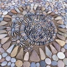 Pebble Mosaic, Stone Mosaic, Pebble Art, Stone Cairns, Rock Cactus, Rock Plants, Ephemeral Art, Rock And Pebbles, Funky Art
