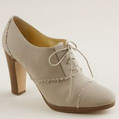 "J CREW Campbell high-heel oxfords 36355  $265.00  Our handsome borrowed-from-the-boys oxfords refashioned in summer-ready canvas. The stacked heel and exterior platform keep the walking easy (and flatter the leg to no end). Leather lining and sole. 3 3/4"" matte stacked heel with a 3/8"" exterior platform for extra comfort. Made in Italy."