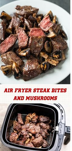 Air Fryer Steak Bites And Mushrooms – Best Recipes Today - Air Frying Air Frier Recipes, Air Fryer Oven Recipes, Air Fryer Dinner Recipes, Air Fryer Recipes Gluten Free, Recipes Dinner, Dinner Ideas, Steak And Mushrooms, Stuffed Mushrooms, Mushrooms Recipes