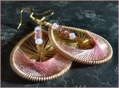Pink and Gold Thread Art Earrings