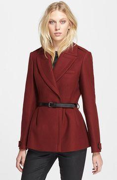Burberry Brit 'Drumleigh' Wool Blend Short Wrap Coat