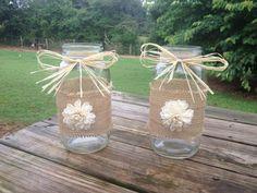 Shabby Chic Rustic Wrapped Mason Jar - Rustic Wedding Decor - Rusic Mason Jar - Wedding Centerpiece - Flower Vase