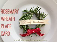 Make these cute rosemary wreath Christmas place cards to decorate your holiday table! Christmas Place Cards, Noel Christmas, Winter Christmas, All Things Christmas, Christmas Wreaths, Christmas Decorations, Christmas Centerpieces, Simple Christmas, Holiday Crafts