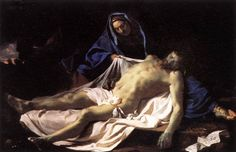 Le Christ mort sur les genoux de la Vierge / Pietà // Ca. 1643-45 // LE BRUN, Charles  #GoodFriday #HolyWeek
