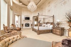 Traditional Master Bedroom with Restoration Hardware Luxe Faux Fur Throw, White Beige Frieze (Twisted) Carpet, Crown molding