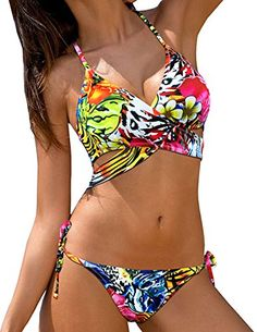 3cdcdf37adf Aipbunny 2017 Sexy Floral Cross Brazilian Halter Bikinis Women Print  Swimwear Swimsuit Push Up Bikini Set Bathing Suit Swim Wear