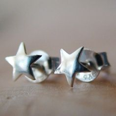 STAR STUDDED EARRINGS Sterling Silver Post Earrings by AgHalo, $14.00