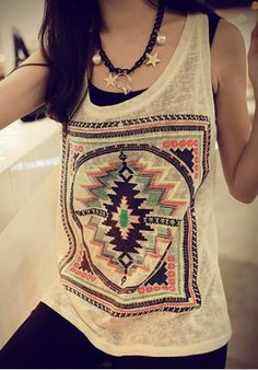 Ethnic Scoop Neck Loose-Fitting Geometric Top For Women Vests & Tank Tops | RoseGal.com Mobile
