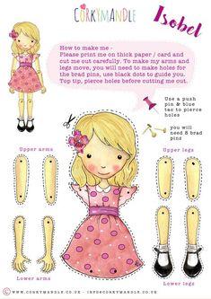 """ Corkymandle Retro Paper Dolls"" - puppets"