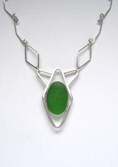 Sea Glass Jewelry  Sterling Green Sea Glass by SignetureLine, $175.00